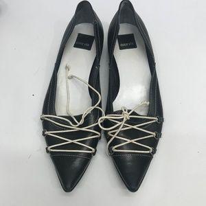 Dolce Vita Tie Front Black Flat Shoes sz 40